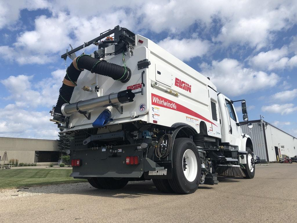 To help mitigate the community transmission of COVID-19, Elgin Sweeper's Whirlwind1 single-engine vacuum sweeper can clean streets by providing low-pressure liquid flows to multiple nozzles while the machine is moving at any speed.