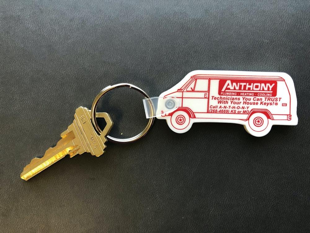 """Anthony Plumbing, Heating, Cooling & Electrical, in Lenexa, Kansas, leaves customers with a keychain shaped like the company's service vans. It ties in with the company's trademarked slogan, """"Technicians you can trust with your house keys."""" (Photo courtesy Anthony Plumbing, Heating, Cooling & Electrical)"""