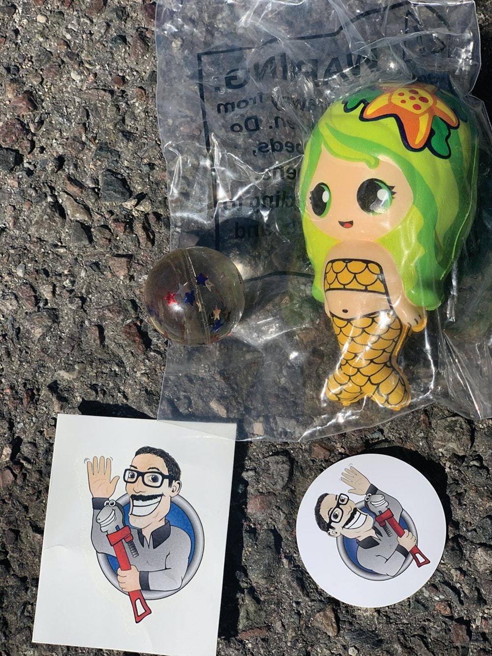 At Thompson Family Plumbing and Rooter in Hesperia, California, customers are left with a small bag full of goodies, such as a small toy, stickers and fake tattoos that the kids can put on. (Photo courtesy Thompson Family Plumbing and Rooter)